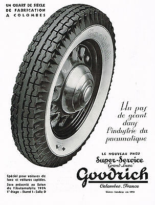 1930s BIG Vintage Original Goodrich Car Tire Auto Parts French Art Deco Print Ad