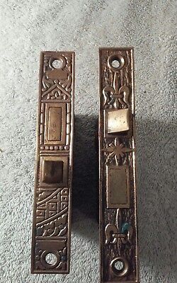 2 Antique Mortise Lock Inserts Ornate Face Plates