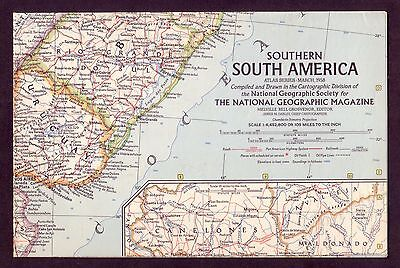 1950s Original Vintage Wall Map Southern South America Argentina Chile Brazil