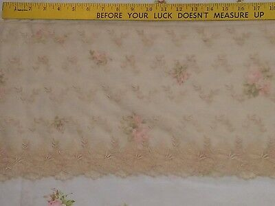 Antique Vtg Net Tambour Ecru Lace Embroidered Trim Scrap Craft Doll Shabby /Chic