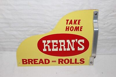 Vintage 1950s Kern's Bread Gas Oil 2 Sided Metal Screen Door Push Pull Sign~Nice