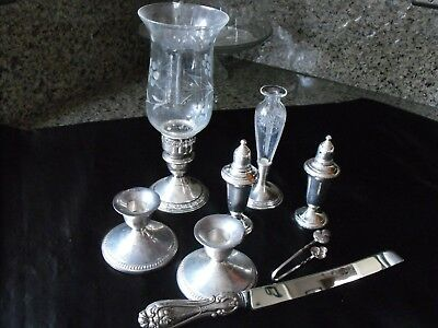 Sterling Silver Mixed Lot, Use Or Scrap~Kerr Scent Bottle,Fisher Candle Holders+