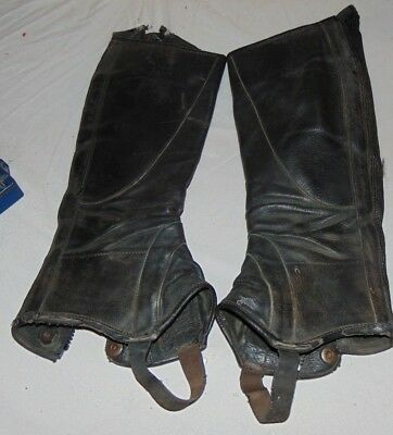 EARLY Men's Ovation Motorcycle Black Leather Boot Covers Stretch Spats Zipper
