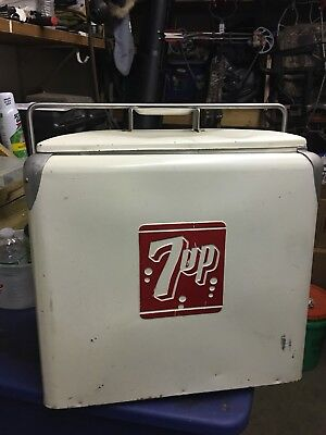 1950's Large 7-UP Cooler With Tray - Excellent