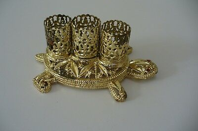 Vintage Gold Tone Metal Turtle Filigree Lipstick Holder With Red Rhinestone Eyes