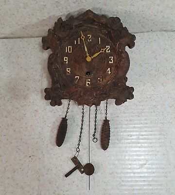 LUX CLOCK MFG CO SYROCO WOOD WALL CLOCK Acorn Weights KEY Birds Flowers VINTAGE