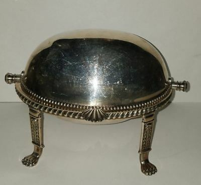 NICE Exeter Silverplate Revolving Dome Butter Dish, Egyptian Revival Design