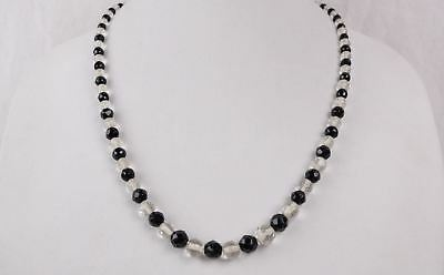 Vintage Art Deco Faceted Clear & Black Glass Bead Necklace with 10k Gold Clasp