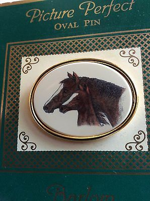 Never Worn Barlow Handpainted Mare & Foal Oval Horse Pin