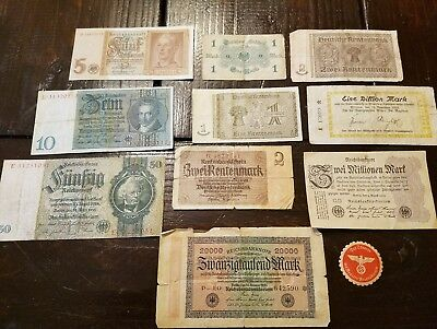 WWII Era Foreign German Military World Currency Paper Money Lot Soldier Marks