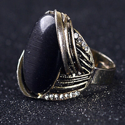 Gold-Plated Ring Hand-carved Inlaid Rhinestones & Cat's Eye Stone J1119