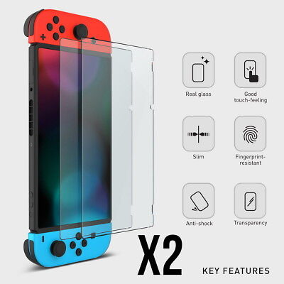 2 Pack of Genuine TEMPERED GLASS Screen Protector Covers For Nintendo Switch