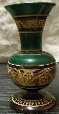 """Vase Hand Painted Wood Green Floral Design Etched in Wood 5.5"""" H x 3"""" W"""