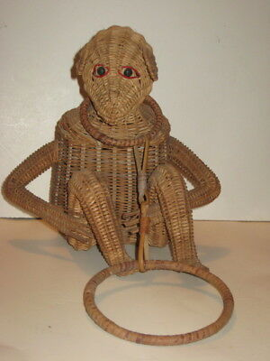 Vintage 50`s Unusual Monkey Wicker Purse Handbag