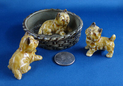 CAIRN TERRIERs 3 dog figures WADE WHIMSIES basket bed