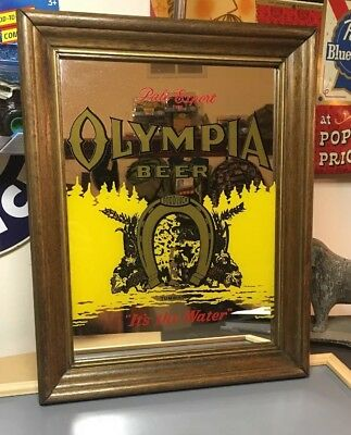 Vintage Olympia Beer Good Luck Sign Mirror Real Wood Frame- Excellent Condition