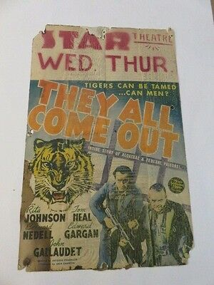 1930s Star Theatre Movie Poster THEY ALL COME OUT Original RARE