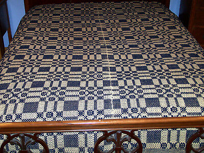 ANTIQUE JACQUARD DOUBLE WOVEN COVERLET, BLUE GEOMETRIC, NARROW LOOM, c1860