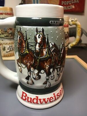 1982 Budweiser 50th Anniversary Clydesdales Holiday Beer Stein 1933-1983 Free S/