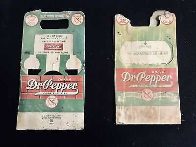 Dr Pepper Green 1945 Vintage Pair Of 6 Pack Carrier Cardboard 10-2-4 Carton