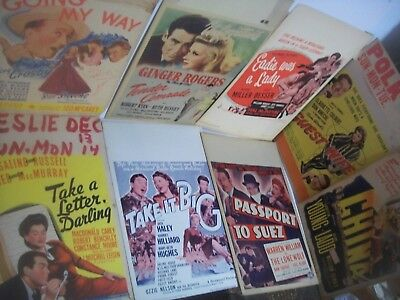 lot of 8 diff. WWII era Window Cards Movie Posters Vintage original big stars