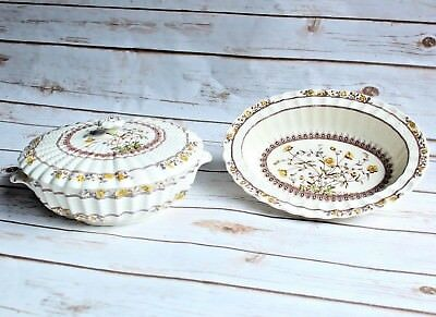 2 Spode BUTTERCUP Oval Vegetable Bowl and Round Covered Lidded Casserole Dish