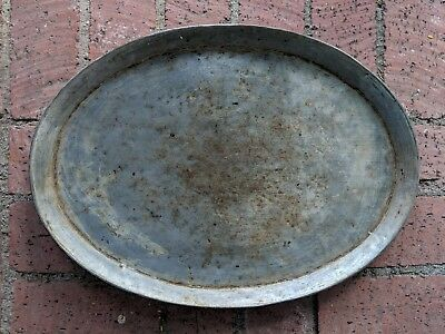 Antique Early 1900's Solid Copper Hand Made Persian Oval Tray with tin coating