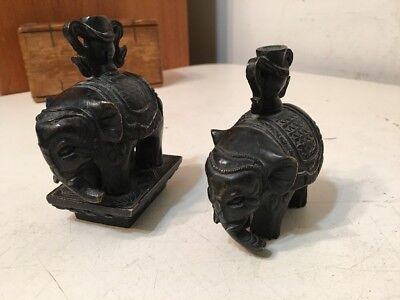 Pair Of Vintage Bronze Elephants Indian? Asian? Paperweights Lids Decorative