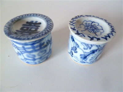 2 Pots couverts anciens PORCELAINE CHINE blanc bleu Chinese chinoise china Asie