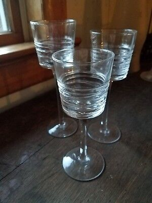 Partylite Clear Lines Stemmed Trio P90597 Votive Candle Holders In Three Sizes