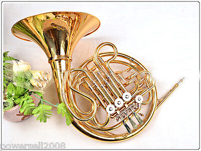 #2 Professional Musical Instruments B Flat Golden Copper 4 Key Double Rows Horn
