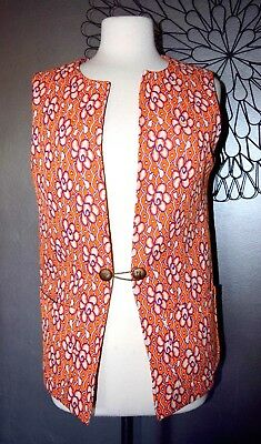 Vintage Orange 60's Hippie Psychedelic MOD VEST Austin Powers Large L/XL RETRO