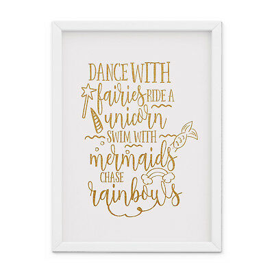 Baby, Girl Nursery Wall Art Dance with fairies, ride a unicorn print Bedroom