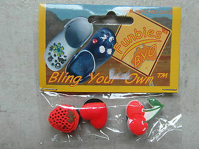 NEW PACK  3 x RED FRUIT JIBBITZ Rubbery CHARMS, TOPPERS for CROCS, SHOES, CLOGS