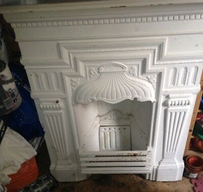 TWO VICTORIAN CAST IRON FIREPLACES - white - pick up only