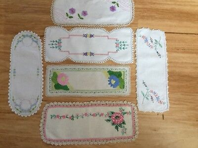 6 fabulous hand embroidered vintage sandwich tray doilies