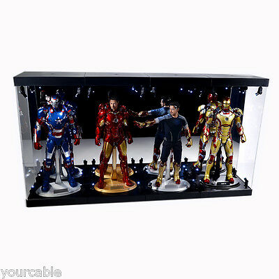 """Acrylic Display Case Light Box for Four 12"""" 1/6th Scale Avengers Action Figure"""