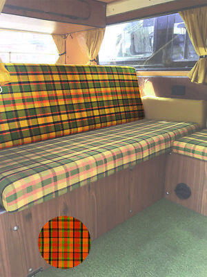 T2 Westfalia Full Width Rock & Roll Bed Back Cover in Orange Plaid 74-79 C9704O