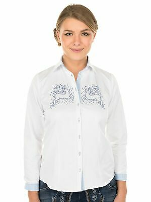 Orbis Traditional Costume Blouse 350062-2879 Long Sleeve Bow Motif White Blue