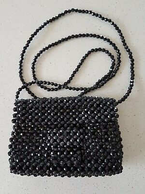 Black Beaded Clutch Purse Cross Body Bag, women's or girl's
