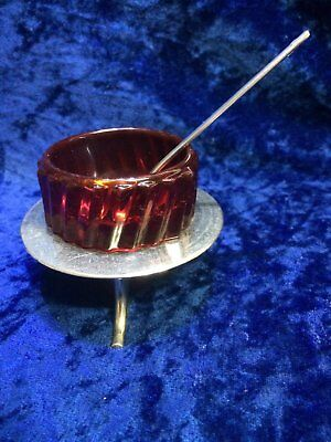 Vintage Red Glass Salts, with Silver Plate Stand Germany and Spoon
