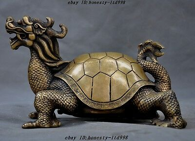 "8""Old China bronze fengshui animal Dragon turtle tortoise longevity lucky statue"