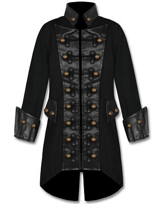 Mens Black Copper Button Steampunk Gothic Military Pirate Jacket Coat