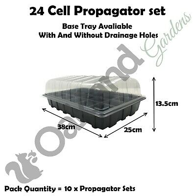 10 X Full Size Propagator Set Lids Seed Trays + 24 Cell Inserts With or No Holes