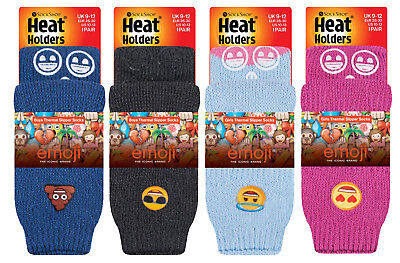 Heat Holders - Childrens Girls Boys Non Slip Emoji Thermal Gripper Slipper Socks