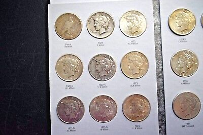 """Silver Peace Dollar Set Complete 24 Coins 1921-1935 * Harris 3 Extra """""""