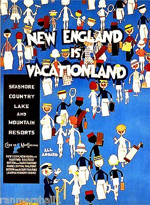 1930s New  England is Vacationland Vintage Railroad Travel Advertisement Poster