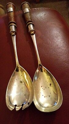 2 silver server spoons