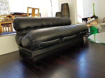 Tobia Scarpa (attributed) mid century modern black leather sofa couch loveseat