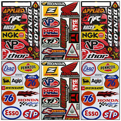 Honda Motorcycle Sticker Kit Set 6 Sheets #HM-602